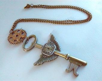 Handmade, steampunk necklace, key pendant, steampunk key pendant, steampunk, handmade steampunk, steampunk cog necklace, steampunk pendant