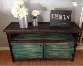 Rustic distressed painted TV  console, credenza, entry way, stand,cabinet