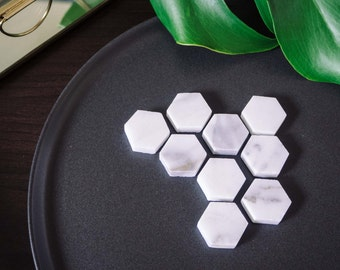 Marble Hexagon Refrigerator Magnets (Set of 8)
