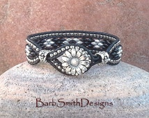 Black Silver Beaded Leather Wrap Cuff Bracelet - The Blinged-Out Skinny One in Black