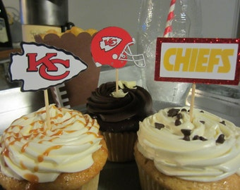 Cupcake toppers, party supplies, Kansas City Chiefs, football, NFL