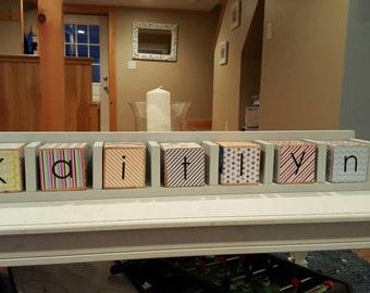Baby Name Blocks with Display Shelf.