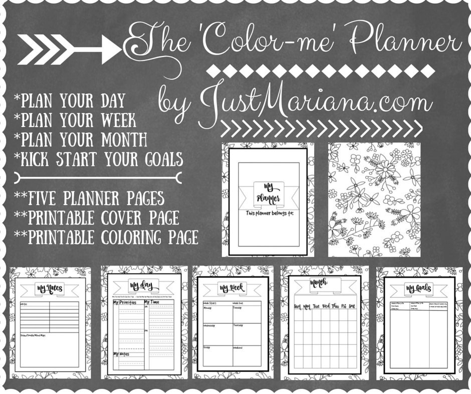 Color Me Plannera printable day / week planner pages with a