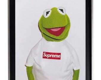Supreme X Kermit Street Urban Poster Print