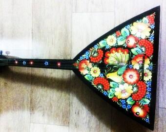 Russian vintage Balalaika 6 string. Hand painted Petrykivka painting. 6 strings balalaika - a rarity!!!