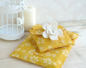 Organic Fabric Pouch-Cloud 9 Tumble Gold. Reusable Gift Wrap, yellow gift wrap, gold gift wrap, gold gift bag. Small, Medium & Large