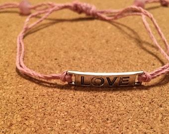 Pink Love Slide Knot Bracelet