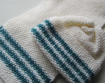 Knitted hat and scarf Set, white and turquoise