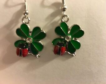 Four leaf clover with lady bug earrings   X27