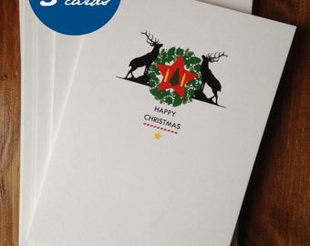 Christmas Cards pack of 5 stylish minimalist cards