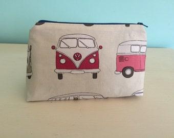 VW campervan makeup bag, cosmetic bag