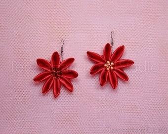 Kanzashi Purple Flower Earrings