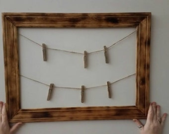 Rustic picture frame/ photo hanger