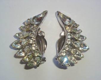 Vintage Pair of Bogoff Rhinestone Earrings