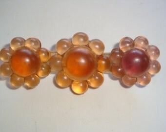 Vintage Resin Flower Bar Pin / Brooch