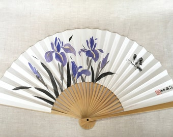 Hand-painted Oriental Japanese folding fan; irises and butterfly