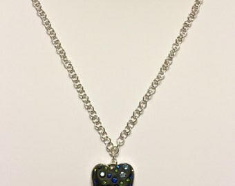 Crystal clay heart pendant necklace