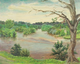 ORIGINAL oil painting, signed, scenic, river, water, small town, wooded, nature, gift art