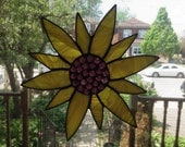 Stained Glass Sunflower, Yellow Flower, Stained Glass Yellow Flower