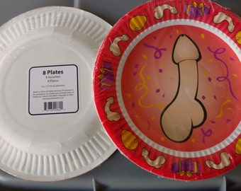 Penis Party Plates  7 inch   set of one packages  of 8 in pack. Bachelorette party special