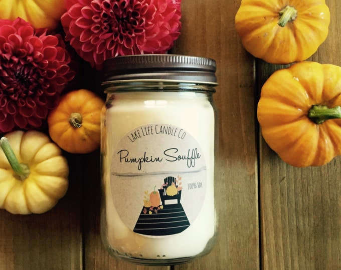 Fall Collection: Pumpkin Souffle Handmade Soy Candle by Lake Life Candle Co.