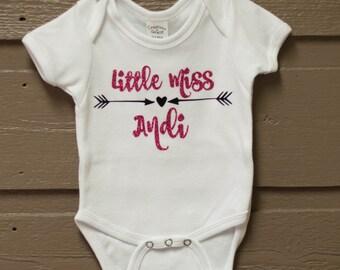 Pink Glitter Little Miss Onesie - newborn-18mo