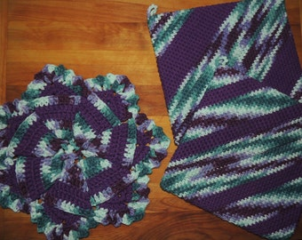 3-Piece Set: {Crochet} Two Pot Holders and a 7-point Folded Trivet