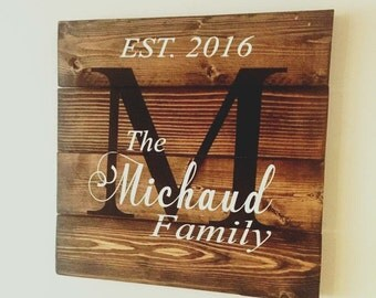 Rustic Last Name Monogram Wood Sign, Hand painted, Family Name