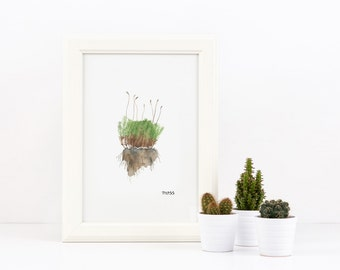Wall Art Print, printable poster, instant download, moss, original watercolor painting, Woodland nature, forest