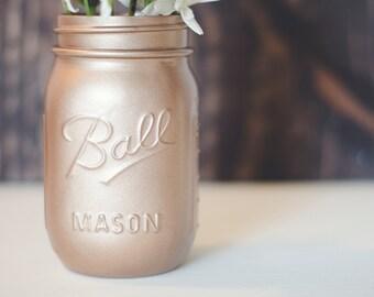 Rose Gold Mason Jars - Wedding Mason Jars - Rose Gold Wedding Mason Jars - Gold Vase - Wedding Decor - Wedding Gift - Baby Shower Mason Jars