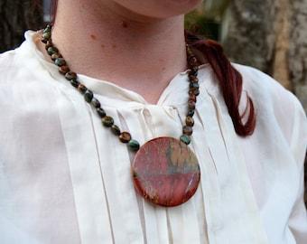 Large Jasper Pendant Necklace w/Matching Earrings