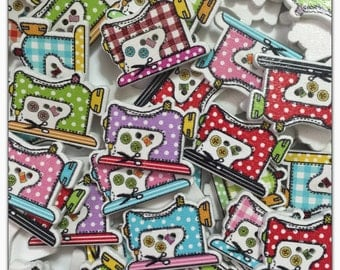 """10 or 20 Sewing machine buttons, random mix, wood buttons, assorted, novelty, scrapbooking, sewing, crafts 26 mm, 26mm, 1"""" 1 inch"""