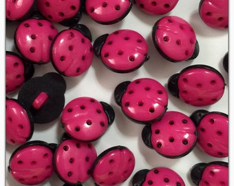 10 or 20 Pink ladybug buttons, buttons, scrapbooking, sewing, crafts ladybird resin hot pink