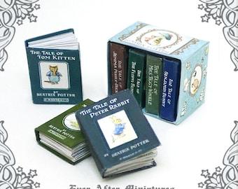 7 Beatrix Potter Dollhouse Miniature Books Set – 12th Scale 7 OPENABLE Beatrix Potter Miniature Books + Collector Box - Printable DOWNLOAD
