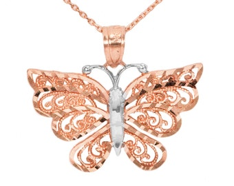 10k Rose Gold Butterfly Necklace