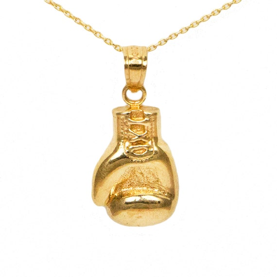 10k Yellow Gold Boxing Glove Necklace