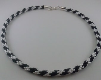 Black and white kumihimo necklace
