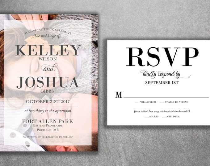 Affordable Photo Wedding Invitations Set Printed, Cheap Wedding Invitation, Photo, Modern, Photograph, Classic, RSVP, Engagement Photo