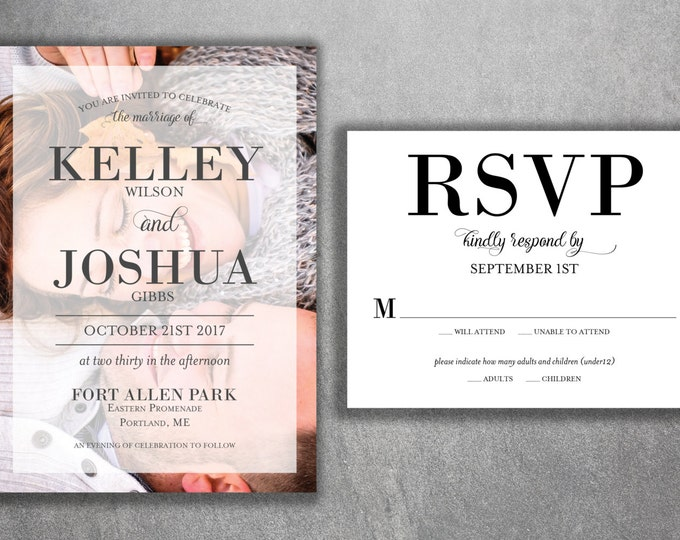 Engagement Photo Wedding Invitations Set, Photograph Wedding Invitation, Photo, Modern, Photograph, Classic, RSVP, Engagement Photo, Rustic