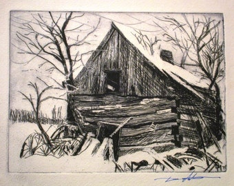 Barn - Etching on paper by David Moskow, rustic, rural, farm, Americana, abandoned, landscape