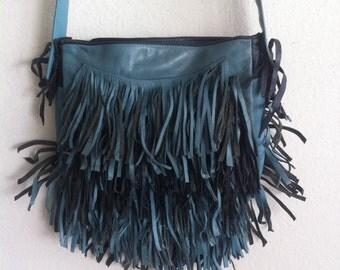 Fringe bag,   blue and dark blue leather new shoulder bag.