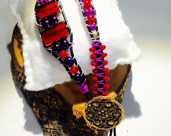 Purple and red single wrap beaded bracelet