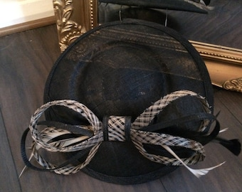 Chanix Millinery Black and creamy gold fascinator