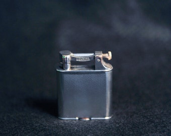 Dunhill Very Rare Superb Art Deco Silver Plated THE NEW pocket petrol double wheel 4 lighter made in England - 1931