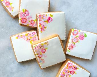 Watercolor Floral Sugar Cookie Tiles