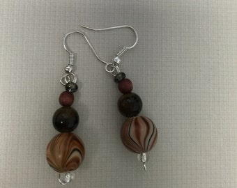 Caramel swirl dangle earrings