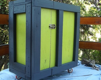 Recycled wood storage cabinet.