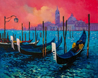 Gondolas near Venice..Instant download.JPG and TIFF files for printing an original oil painting.