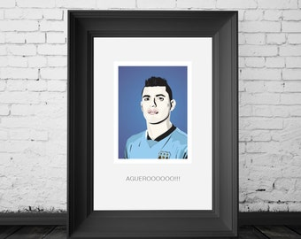 Sergio Aguero, Manchester City and Argentina Striker. A4,A3 and A2 Hand and Digitally Drawn Poster. By Mike Moran