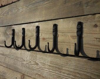 Set of 5 hand forged small hooks, Towel, Mug, Bag, Coat, Rack, Hanger, Holder. Wrought iron, Blacksmith, Metal decor